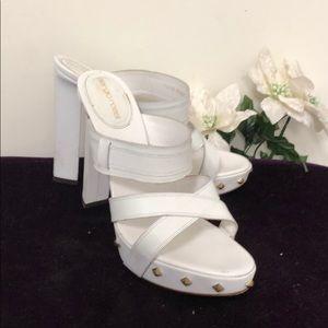 "Sergio Rossi white 6"" studded heels"